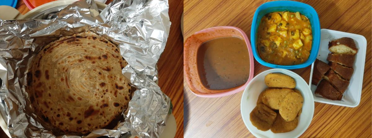 Yummy paranthas, sabzi, dal makhni, pakore and homemade cakes