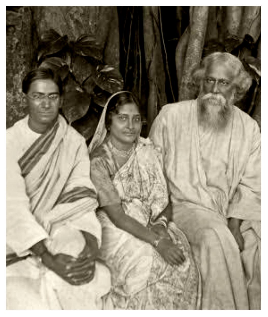 Rabindranath Tagore with P. C. Mahalanobis and Nirmalkumari Mahalanobis