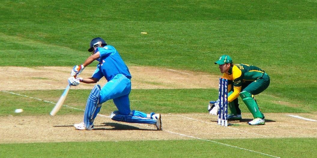 Mahendra Singh Dhoni batting against