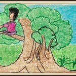 A man on a tree - Art by 10 year old artist Varun Narayanan