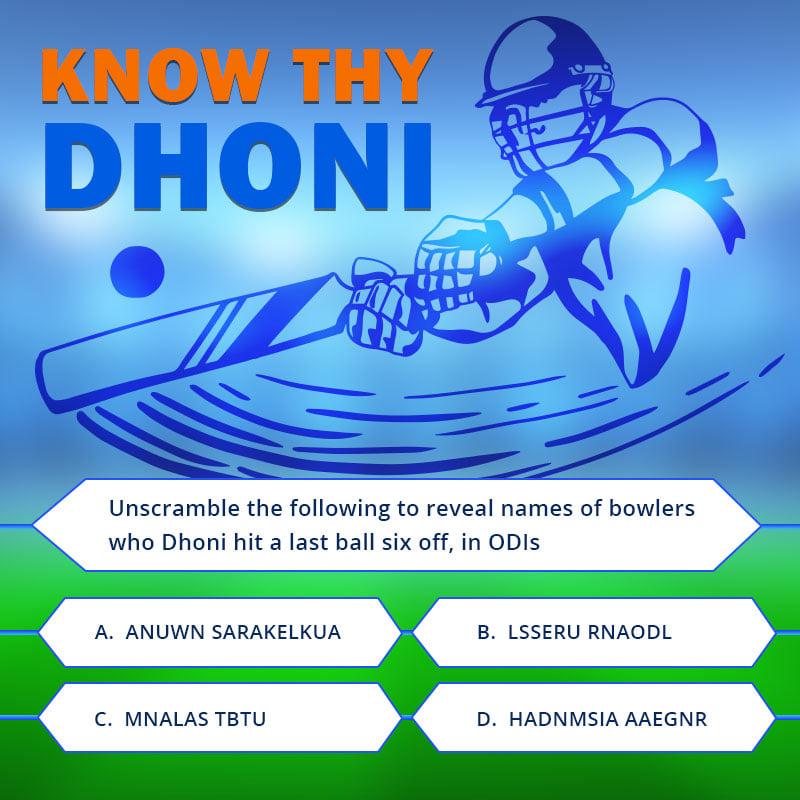 know thy dhoni quiz question